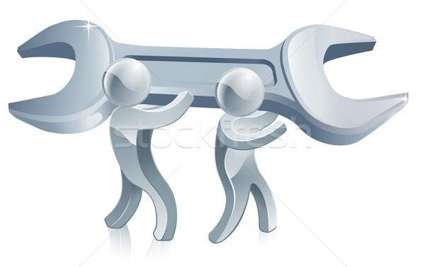 Két férfi tart csavarkulcs illusztráció kettő ezüst Stock fotó © Krisdog