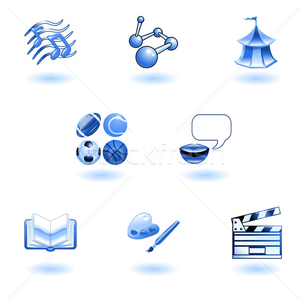 Blue glossy category education web icons Stock photo © Krisdog