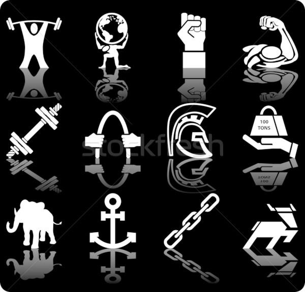Sterkte iconen wereldbol ontwerp wereld Stockfoto © Krisdog