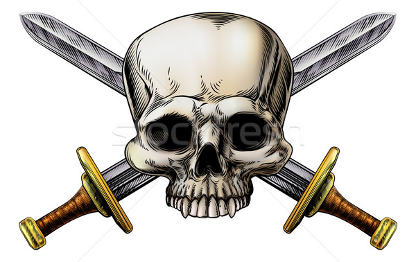 Skull and Cross Swords Sign Stock photo © Krisdog