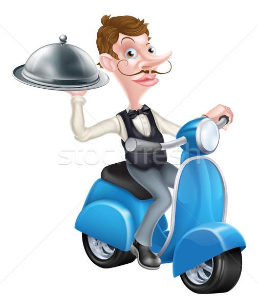 Cartoon Butler on Scooter Moped Delivering Food Stock photo © Krisdog