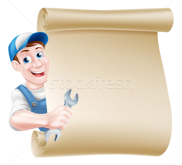 Plumber Cartoon Mechanic Man Stock photo © Krisdog