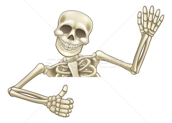 Thumbs Up Cartoon Halloween Skeleton Stock photo © Krisdog