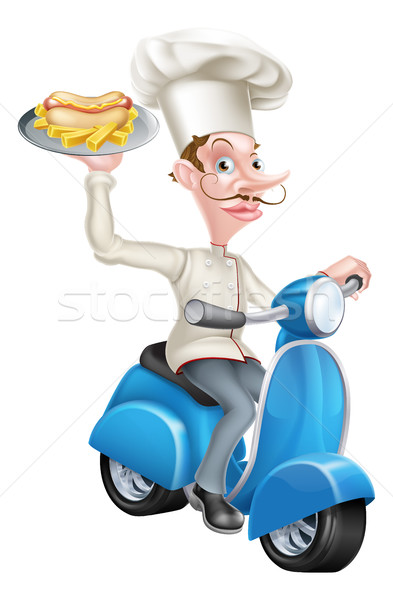 Chef on Scooter Moped with Hotdog and Chips Stock photo © Krisdog