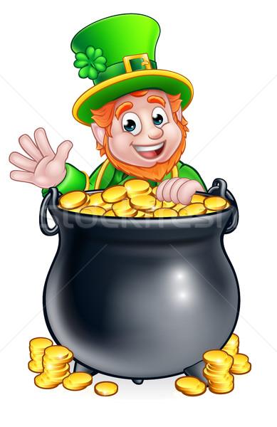 St Patricks Day Leprechaun and Pot of Gold Stock photo © Krisdog