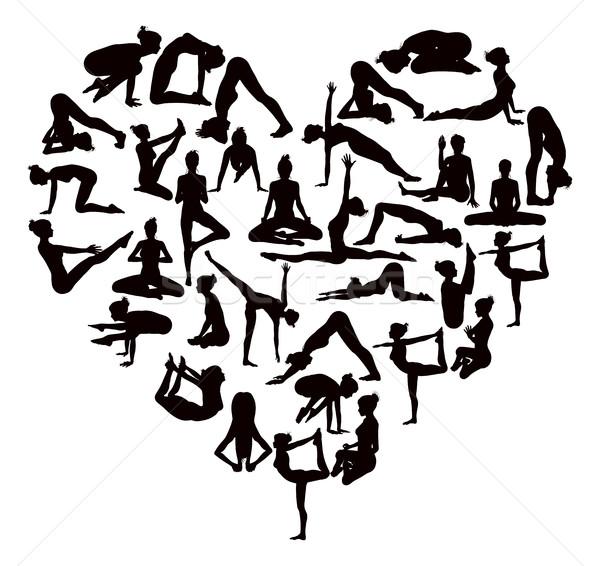 Yoga Poses Silhouettes Heart Stock photo © Krisdog