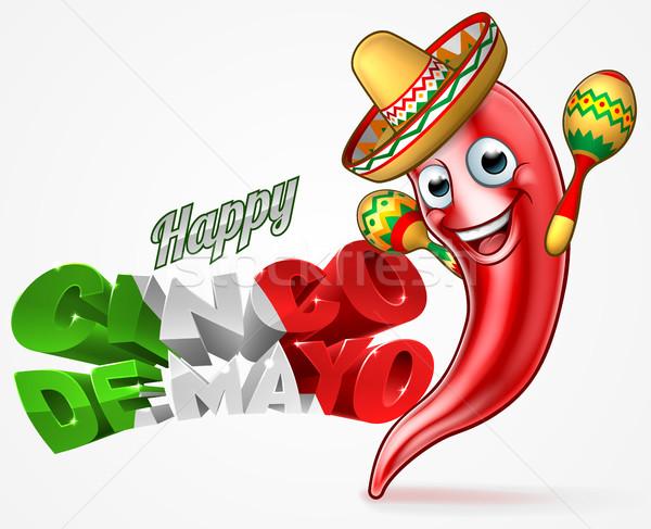 Mexican Cinco De Mayo Chilli Pepper Design Stock photo © Krisdog