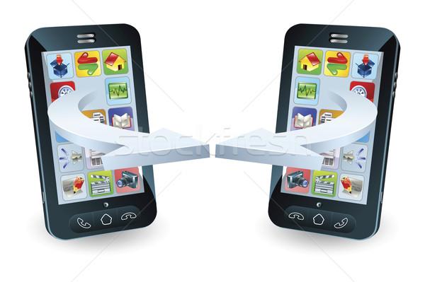 Smartphones communiquer technologie sans fil affaires technologie téléphone Photo stock © Krisdog