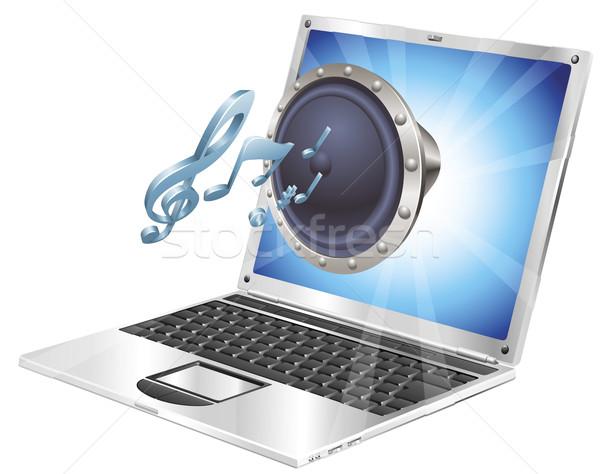 оратора икона ноутбука из экране компьютер Сток-фото © Krisdog