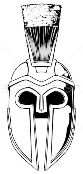 In bianco e nero spartan casco illustrazione fronte trojan Foto d'archivio © Krisdog