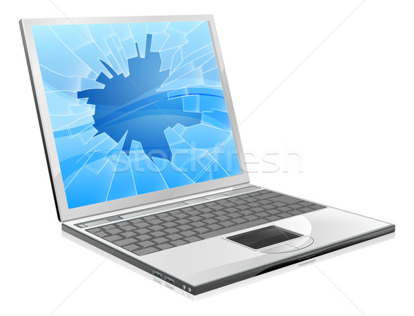Laptop with broken screen  Stock photo © Krisdog