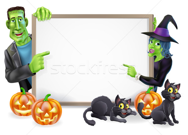 Halloween Witch and Frankenstein Banner Stock photo © Krisdog