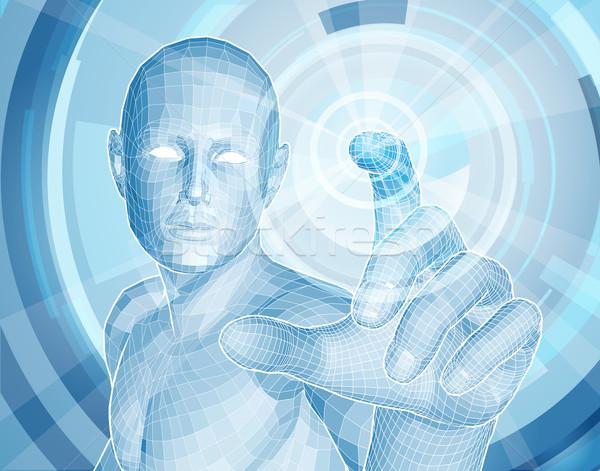 Gelecek teknoloji 3D uygulaması mavi insan Stok fotoğraf © Krisdog