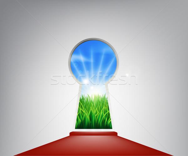 レッドカーペット のどかな 風景 前方後円墳 ドア 入り口 ストックフォト © Krisdog