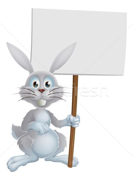 White Easter bunny sign Stock photo © Krisdog