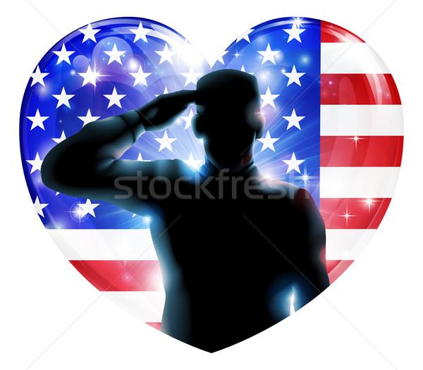 Dag illustratie soldaat Amerikaanse vlag Stockfoto © Krisdog