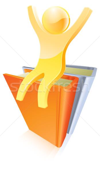 Stockfoto: Goud · persoon · top · boeken · omhoog
