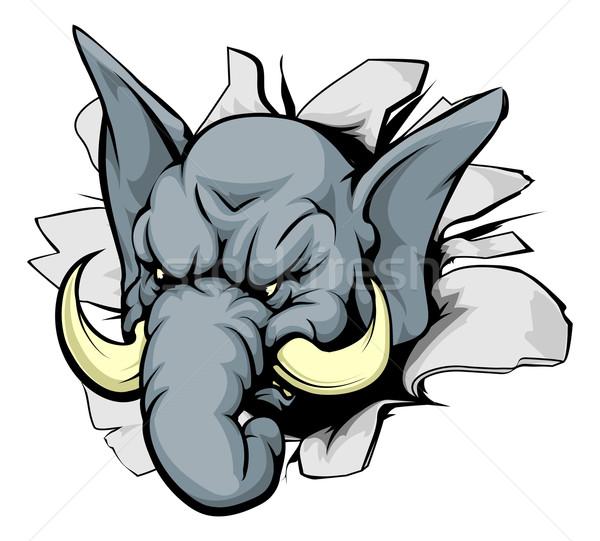 Słoń przełom patrząc zwierząt maskotka sportu Zdjęcia stock © Krisdog