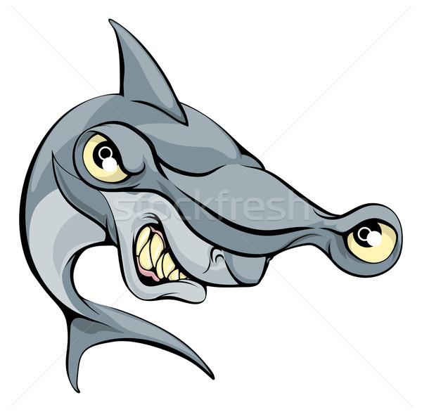 Kalapács fej cápa rajz nagy sportok Stock fotó © Krisdog