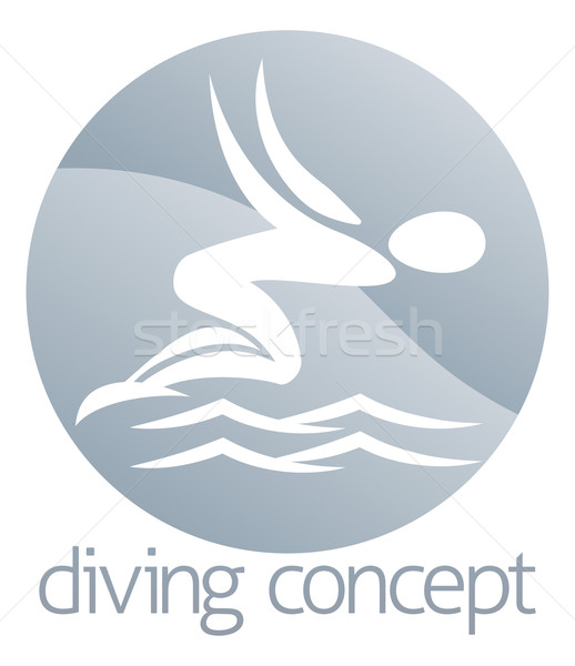 Diver swimming circle design Stock photo © Krisdog