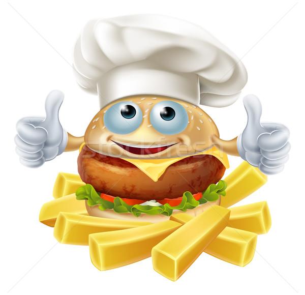 Cartoon chef Burger papas fritas mascota carácter Foto stock © Krisdog