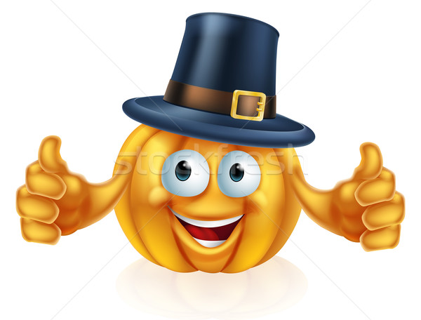 Zarándok kalap sütőtök rajz hálaadás férfi Stock fotó © Krisdog