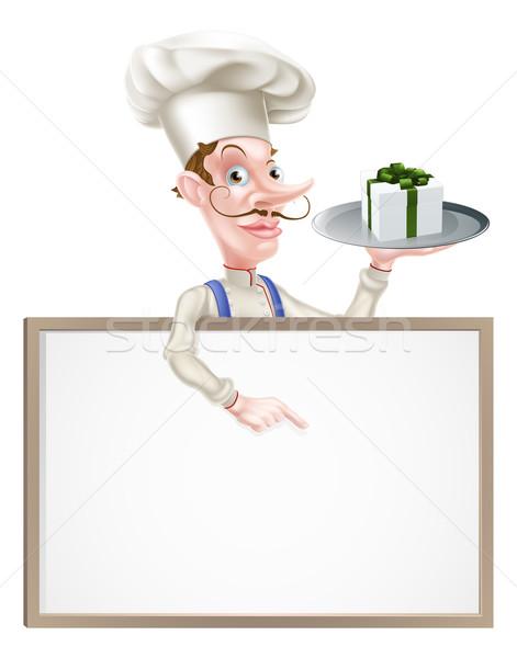 Ajándék szakács felirat illusztráció rajz tart Stock fotó © Krisdog