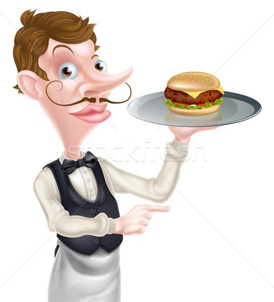 Hamburger pincér mutat illusztráció rajz tart Stock fotó © Krisdog