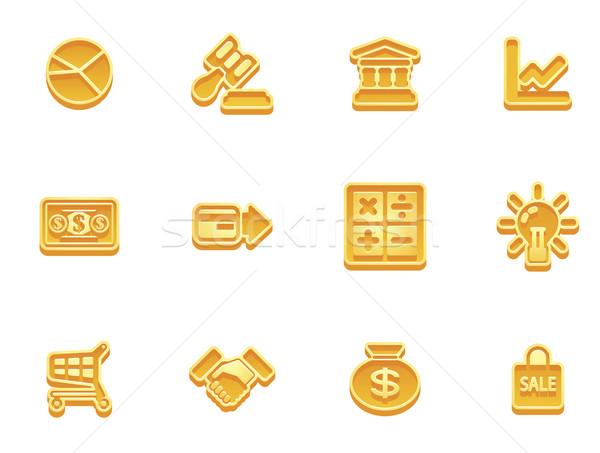 Business financieren iconen illustratie ingesteld internet pictogrammen Stockfoto © Krisdog