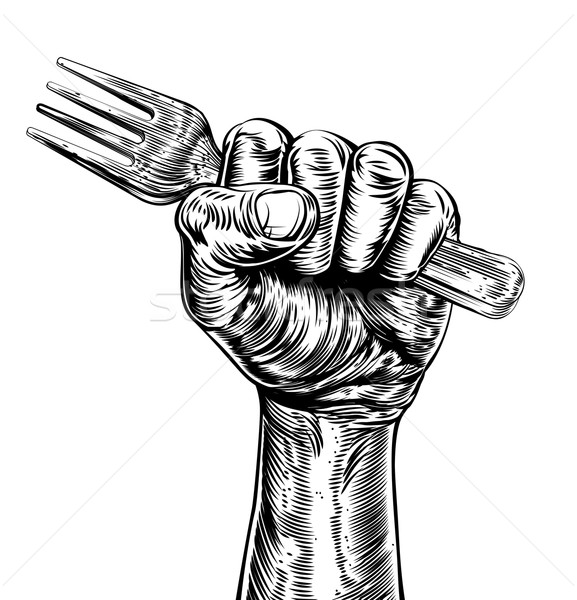 Propaganda Woodcut Fist Hand Holding Fork Stock photo © Krisdog