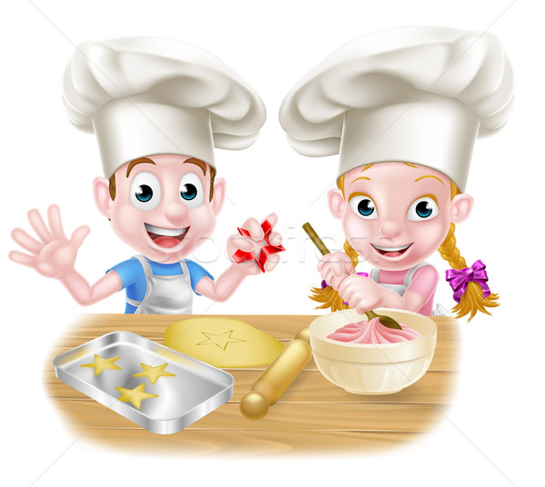Cartoon Chef Kids Baking  Stock photo © Krisdog