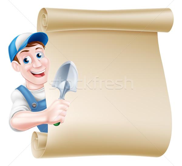 Cartoon Gardener Trowel Scroll Stock photo © Krisdog