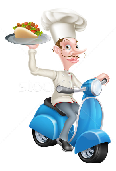 Chef on Scooter Moped Delivering Gyro Kebab Stock photo © Krisdog