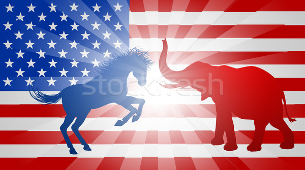 Jackass Donkey Fighting Elephant Election Concept Stock photo © Krisdog