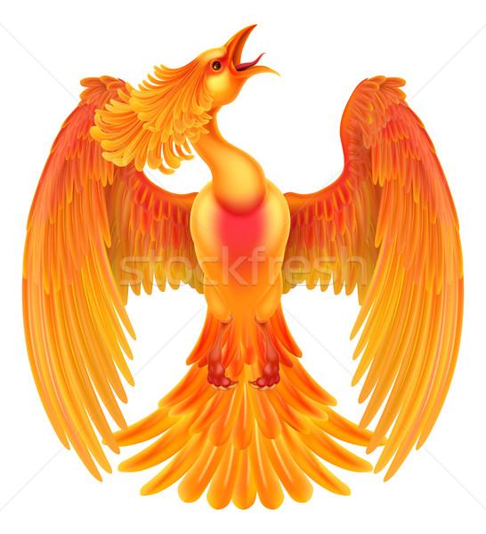 フェニックス 火災 鳥 翼 背景 ストックフォト © Krisdog