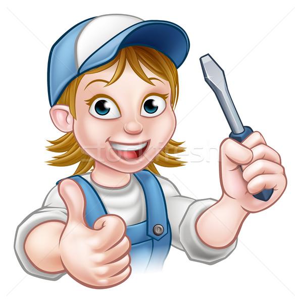 Cartoon женщины электрик отвертка мастер на все руки Сток-фото © Krisdog