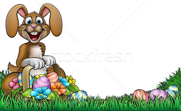 Easter bunny yumurta sepet Stok fotoğraf © Krisdog