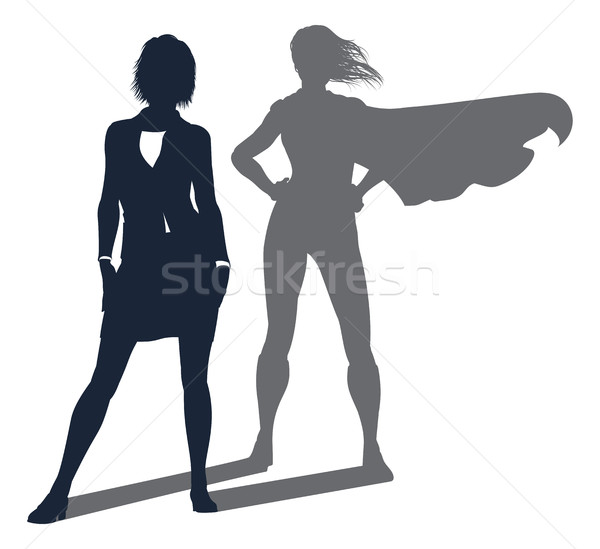 Superhero Shadow Businesswoman Stock photo © Krisdog