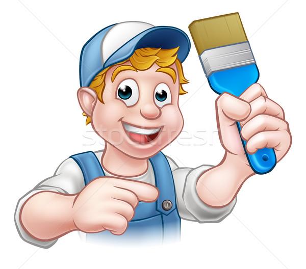 Painter Decorator Handyman Cartoon Character Stock photo © Krisdog