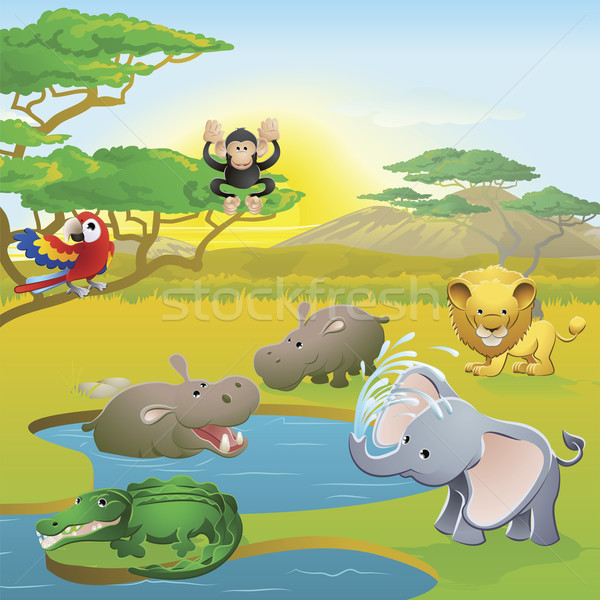 Cute african safari animale cartoon scena Foto d'archivio © Krisdog