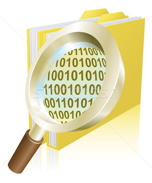 Lupa binário dados arquivo dobrador ilustração Foto stock © Krisdog