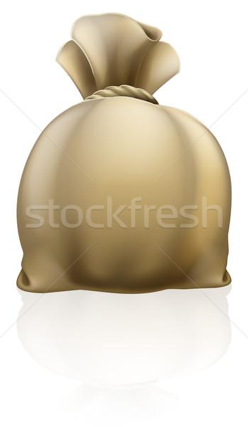 Zsák illusztráció vászon pénz táska kötél Stock fotó © Krisdog