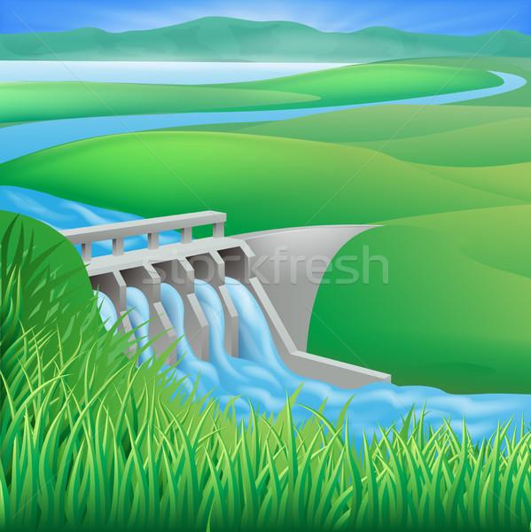 Hydro dam water power energy illustration Stock photo © Krisdog
