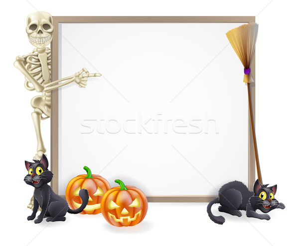 Halloween Skeleton Sign Stock photo © Krisdog