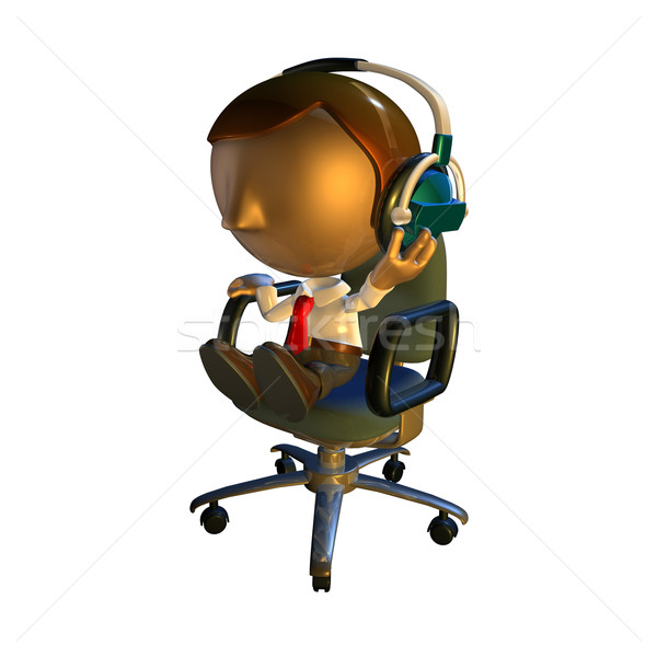 3d business man character sitting in a chair with headphones Stock photo © Krisdog