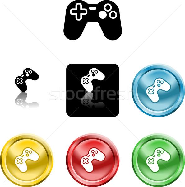 Kontroler gier ikona symbol kilka komputera niebieski Zdjęcia stock © Krisdog