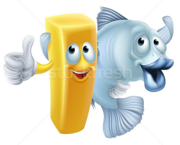 Ryb chipy cartoon znajomych chip francuski Zdjęcia stock © Krisdog