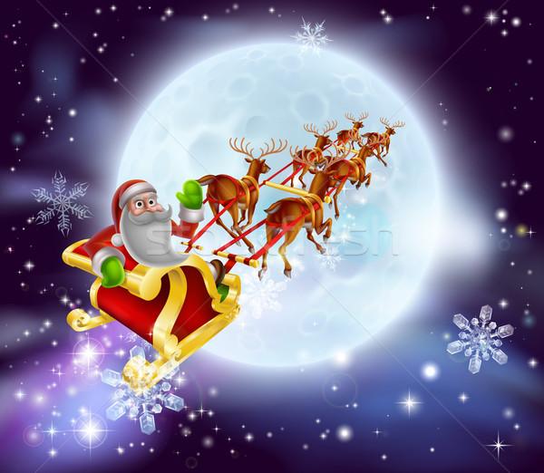 Santa Christmas Sleigh Moon Stock photo © Krisdog