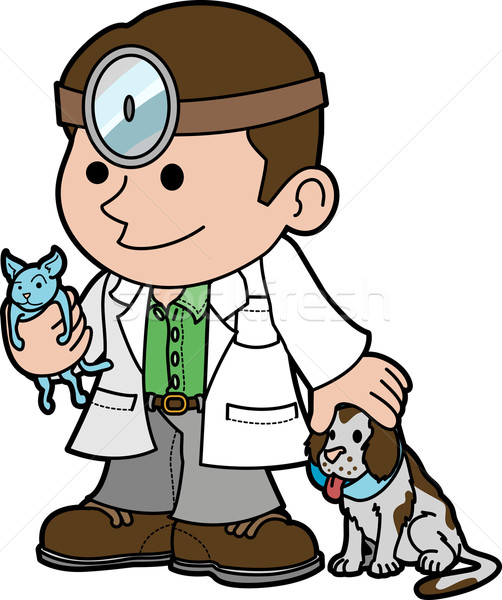 Illustration of veterinarian with animals Stock photo © Krisdog