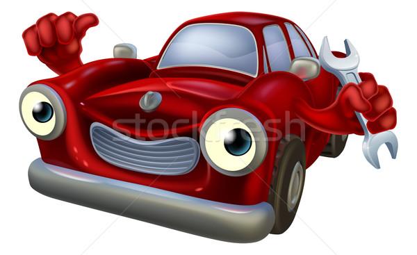 Voiture mécanicien personnage heureux rouge Photo stock © Krisdog